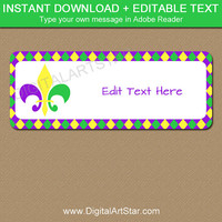 Mardi Gras Address Label Template, INSTANT DOWNLOAD Return Address Labels, DIY Address Labels, Mardi Gras Mailing Stickers, Mardi Gras Label