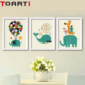 Cartoon Animals Elephant Giraffe Nordic Poster Modern Canvas Painting Wall Art Prints Wall Picture For Kids Bedroom Home Decor