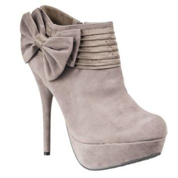Bamboo Womens Covina Platform Stiletto Booties, Taupe, 9