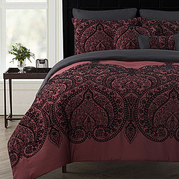 Victoria Classics Red Flocked Paisley Seven-Piece Comforter Set