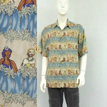 Vintage 90s Blue Rayon Hawaiian Shirt, Pinup Girl Novelty Print Shirt, Aloha Shirt, Summer Shirt, Resort Wear, Tropical Shirt, Size L