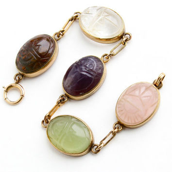 Vintage Scarab Bracelet - Gold Filled Semi Precious Stone Statement Egyptian Revival Jewelry... Rose Quartz, Amethyst / Carved Beetles