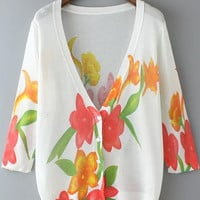 White V-Neckline Red Floral Knitted Cardigan