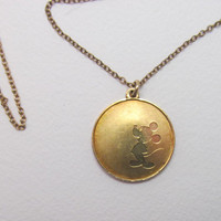 Mickey Mouse medallion necklace commemorative 50th anniversary vintage 1978