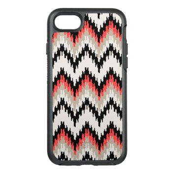 Tribal Aztec Ikat Chevron Pattern Black Coral Gray OtterBox Symmetry iPhone 7 Case