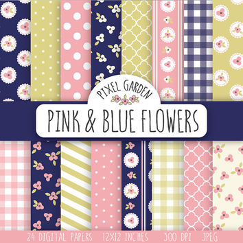 Shabby Floral Digital Paper Pack. Cottage Chic Scrapbooking Paper. Navy Flowers Printable Paper Set. Pink, Green, Navy Blue.