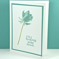 Lotus Blossom Hand Stamped Thank You Card Teal