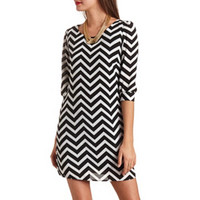 CHIFFON CHEVRON SHIFT DRESS