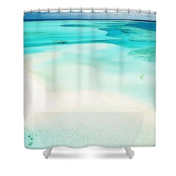 Ocean View  Watercolor Art By Adam Asar - Asar Studios - Shower Curtain