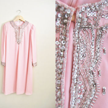 Party Pretty - Vintage Pink Chiffon Shift Tent Style Glitter Rhinestone Sequin Trim Dress