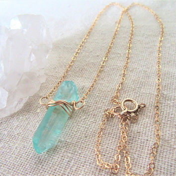 Raw Crystal Necklace, Rough Stone Necklace, Aqua Quartz, Crystal Quartz Necklace, Boho Crystal Jewelry, Modern Necklace