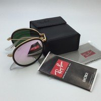 RayBan Round Folding Gold Frame Black Trim Pink Mirror Lens RB3517 001/Z2 51MM