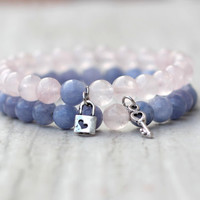 couple bracelet set for loved matching couple key lock charm blue pink bracelet her his jewelry boyfriend gift girlfriend relationship