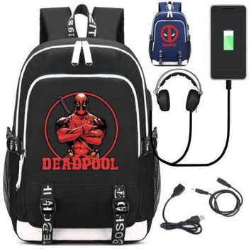 Deadpool Dead pool Taco New Superhero  School Backpack Knapsack with USB Charge Interface Laptop Travel Shoulder Bag For Teenagers AT_70_6