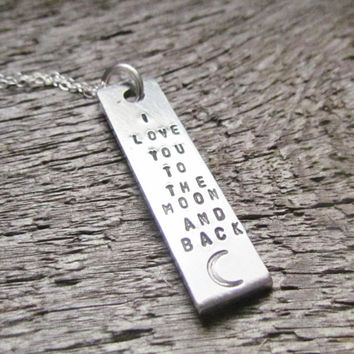 Necklace I Love You To The Moon And Back Hand Stamped Rectangle Jewelry Charm Aluminum Sterling Silver Cable Chain Tiny Font