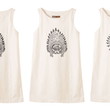 Animals wear headdress Printed Vintage 100% Cotton Linen Mini Shift Dress WDS_01