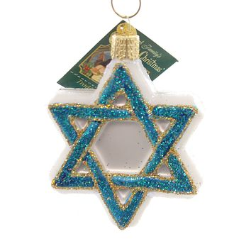Old World Christmas Star Of David Glass Ornament