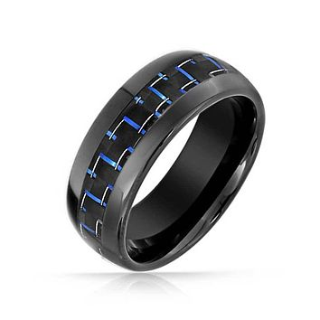 Black Blue Cobalt Carbon Fiber Inlay Wedding Band Tungsten Ring 8MM