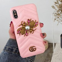 "Hot Sale ""GUCCI"" Stylish Bees Letter Crystal Mobile Phone Case iphone 6 6plus iphone 7 7plus iphone 8 8plus iphone X Protective Case Pink I12485-1"