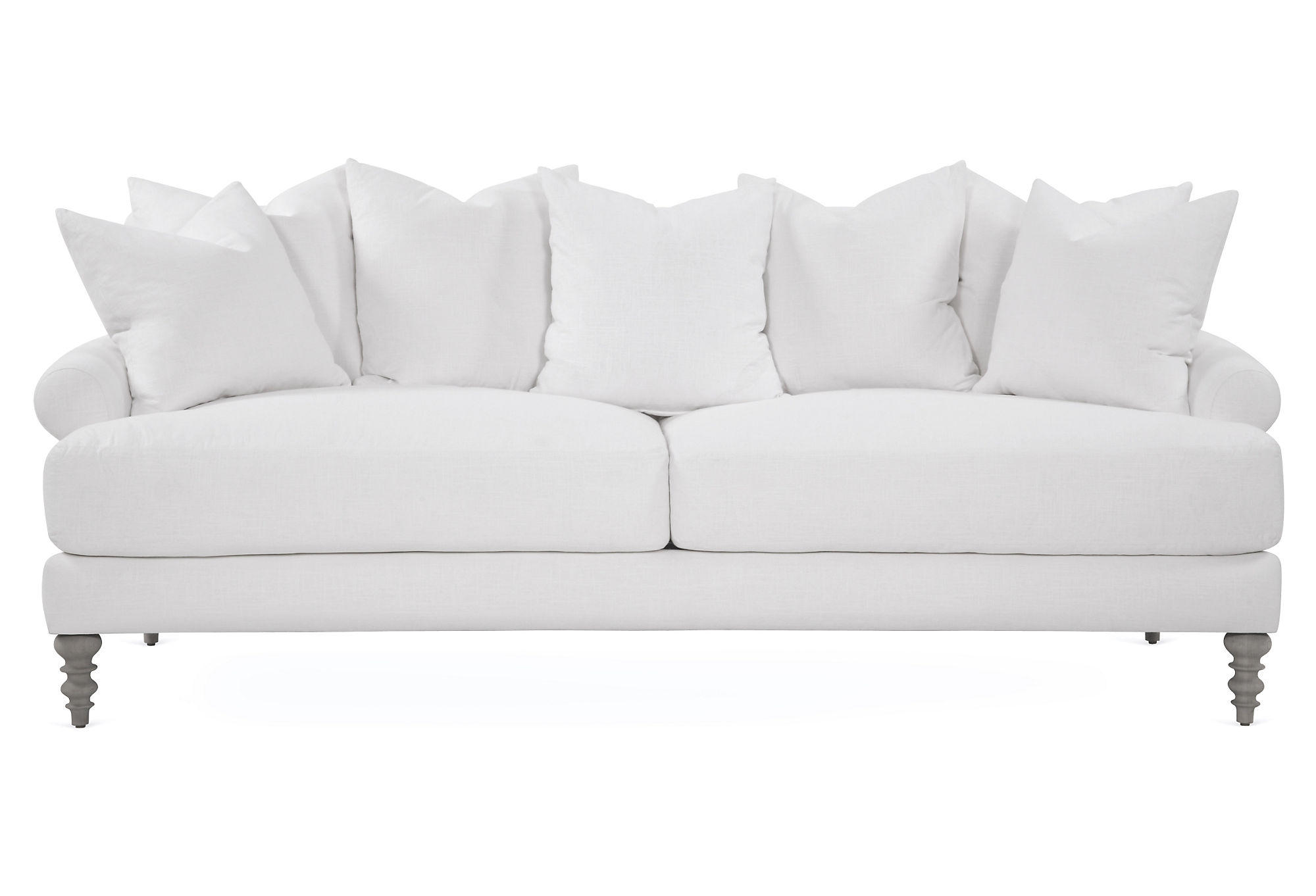 Linen sofa white sofas loveseats from one kings lane for White linen sectional sofa