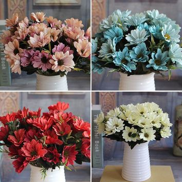 Bunch Man Mad Bridal Daisy Flowers Fake Silk Bouquet Home Party Decor Props Artificial 1pcs