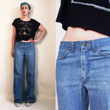 "70s Clothes / 70's Lee Jeans 1970's Vintage Pants Mens Denim Jeans Disco Men's US Size 32"" waist"