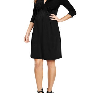 Maternal America Circle Ruche Dress - Black -