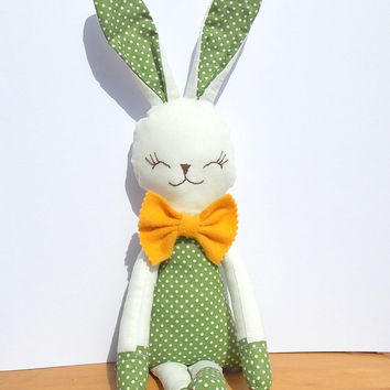 Stuffed animal toy bunny boy green polka dots and yellow tie gift for boy, gift for baby