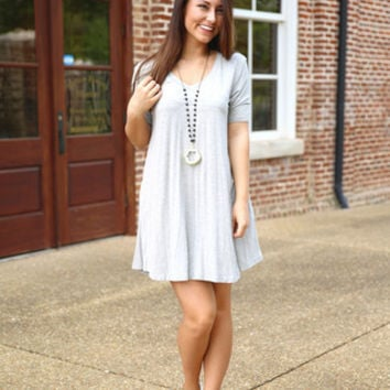 Piko V neck Trapeze Dress in Heather Gray