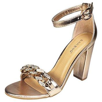 BAMBOO Womens Chain Ornament Single Band Chunky Heel Sandal With Ankle Strap