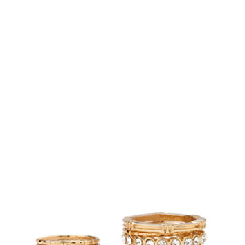 FOREVER 21 Rhinestoned Midi Ring Set Gold/Clear