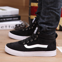 Men's hightop canvas shoes high fashion shoes trend wear flat shoes breathable male wild shipping