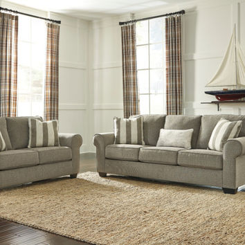 Ashley Furniture 47600-38-35 2 pc Baveria collection fog fabric upholstered sofa and love seat set with rounded arms
