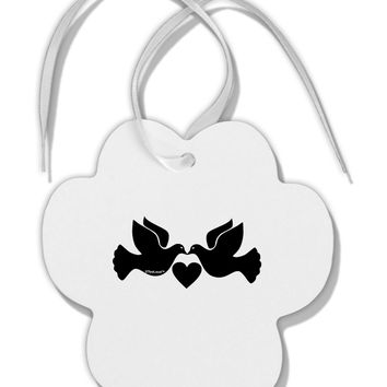 Two Turtle Doves Paw Print Shaped Ornament
