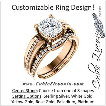 CZ Wedding Set, Style 03-92 feat The Catherine Engagement Ring (Customizable Vented Prong Accents)