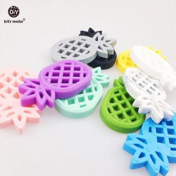 VONG2W Let's Make Baby Pendants 5pc Silicone Pineapple Silicone Teether BPA Free Diy Crafts Accessories Baby Pram Toy Teething Ananas