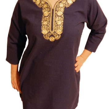 Sara Women's Top Tunic with Embroidery