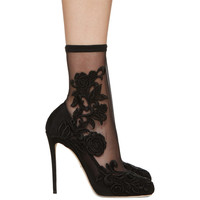 Black Lace Sock Heels