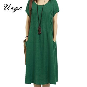 Uego 2018 New fashion solid color soft cotton linen dress short sleeve plus size loose casual women summer midi dress Vestidos