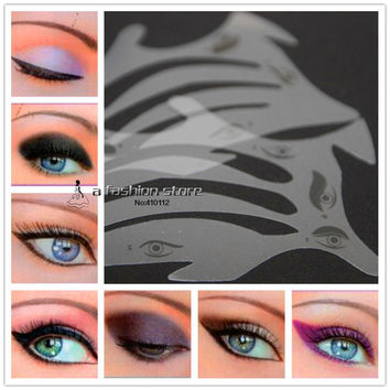 10 style in 1 set Fashion Makeup Eyebrow Eyeliner Smokey Eyeshadow Stencil for Cat Eye  Classic Fish Tail Line Stencils Template
