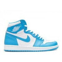 VLX85E Beauty Ticks Nike Air Jordan 1 Retro High Og Unc White Dk Powder Blue Basketball Sport Shoes