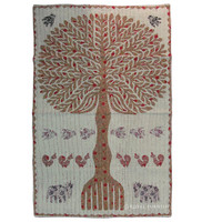 Indian Vintage Patchwork Tree Of Life Embroidered Tapestry Wall Hanging Art