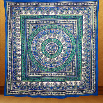 QUEEN cotton tapestry tapestries Hippie Wall Hanging large Mandala Bedspread bed cover Indian Bohemian Boho Ethnic Home Decorative Art