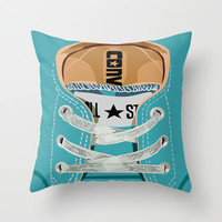 Cute converse all star Blue teal baby shoes Throw Pillow by Three Second