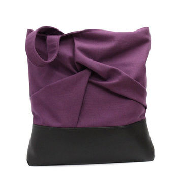 Violet Tote Bag, Origami Bag, Canvas Leather Tote, Purple Handbag,Fabric Leather Bag,Large Shopper Bag,Everyday Hand Bag,Violet Shoulder Bag