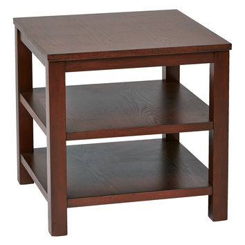 "Work Smart™ / Ave Six Merge 20"" Square End Table mahogany Finish"