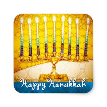 """Happy Hanukkah"" Artsy Yellow & Gold Menorah Photo Square Sticker"