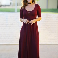 Burgundy Maxi Dress with Mid-Sleeves