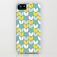 Tulip Knit (Aqua Gray Yellow) iPhone & iPod Case by Beth Thompson