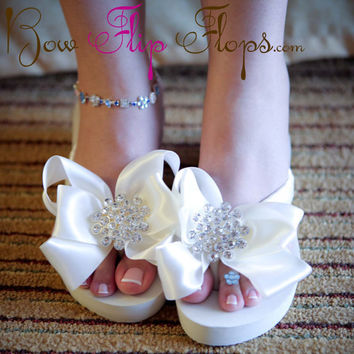 Ivory Wedge Bridal Flip Flops Jewel Rhinestone by BridalFlipFlops